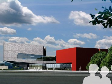 3D composite render of the main entrance approach at the proposed Kunstenshus Herning
