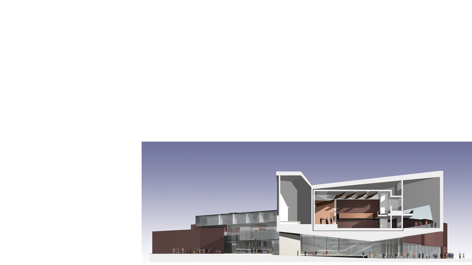 Rendered cross section of the recital hall at the proposed Kunstenshus Herning