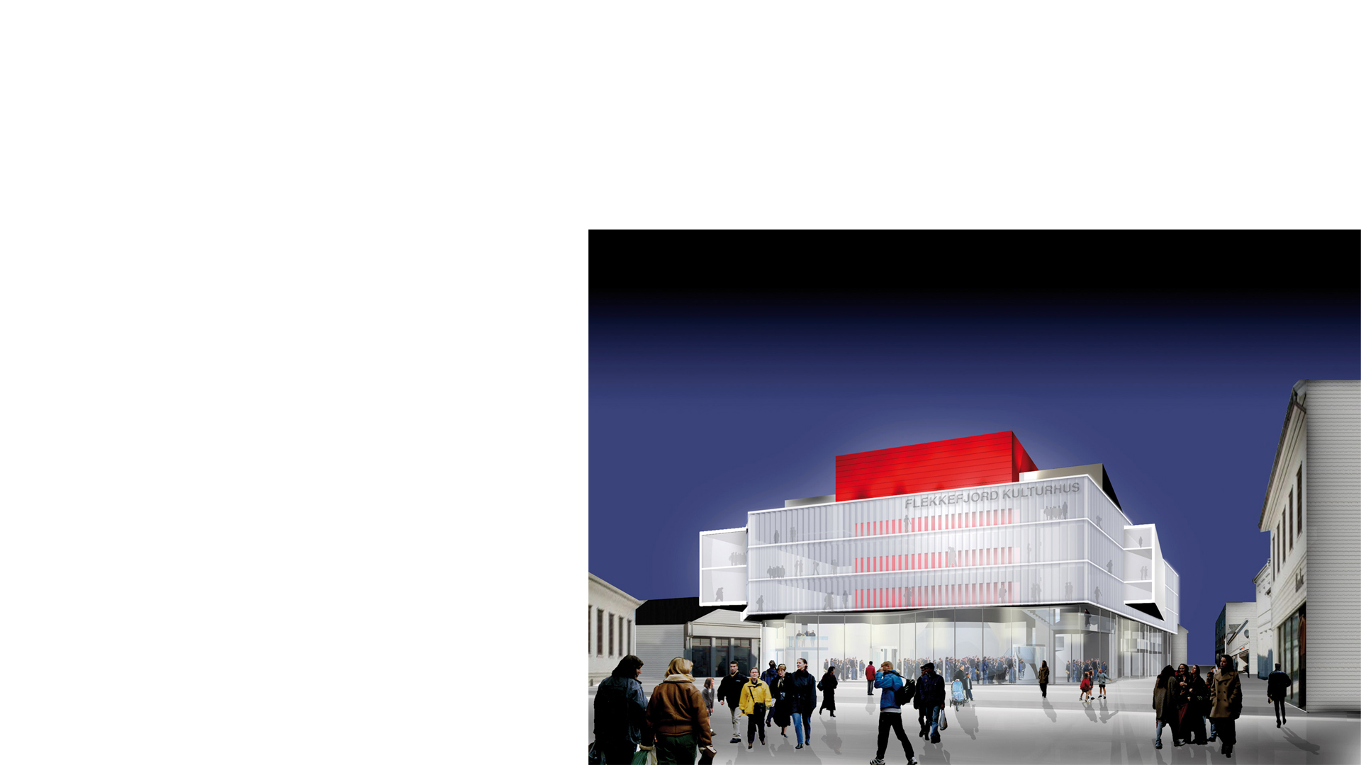Rendering of the proposed Flekkefjord Kulturhus, Norway, viewed from town's dockside