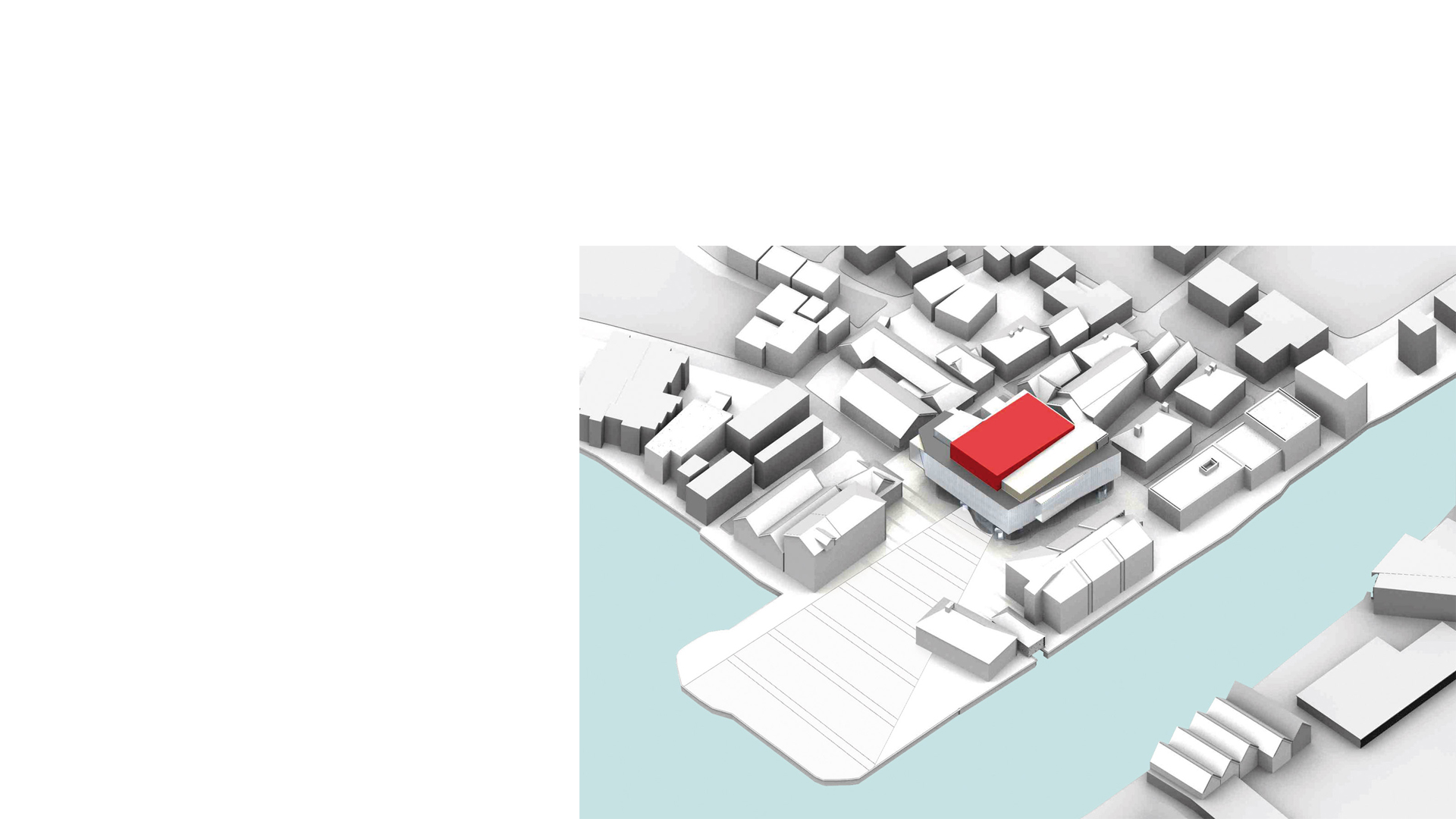 3D rendering showing the aerial view of the proposed Flekkefjord Kulturhus, Norway, showing the project in context with the town's dockside.
