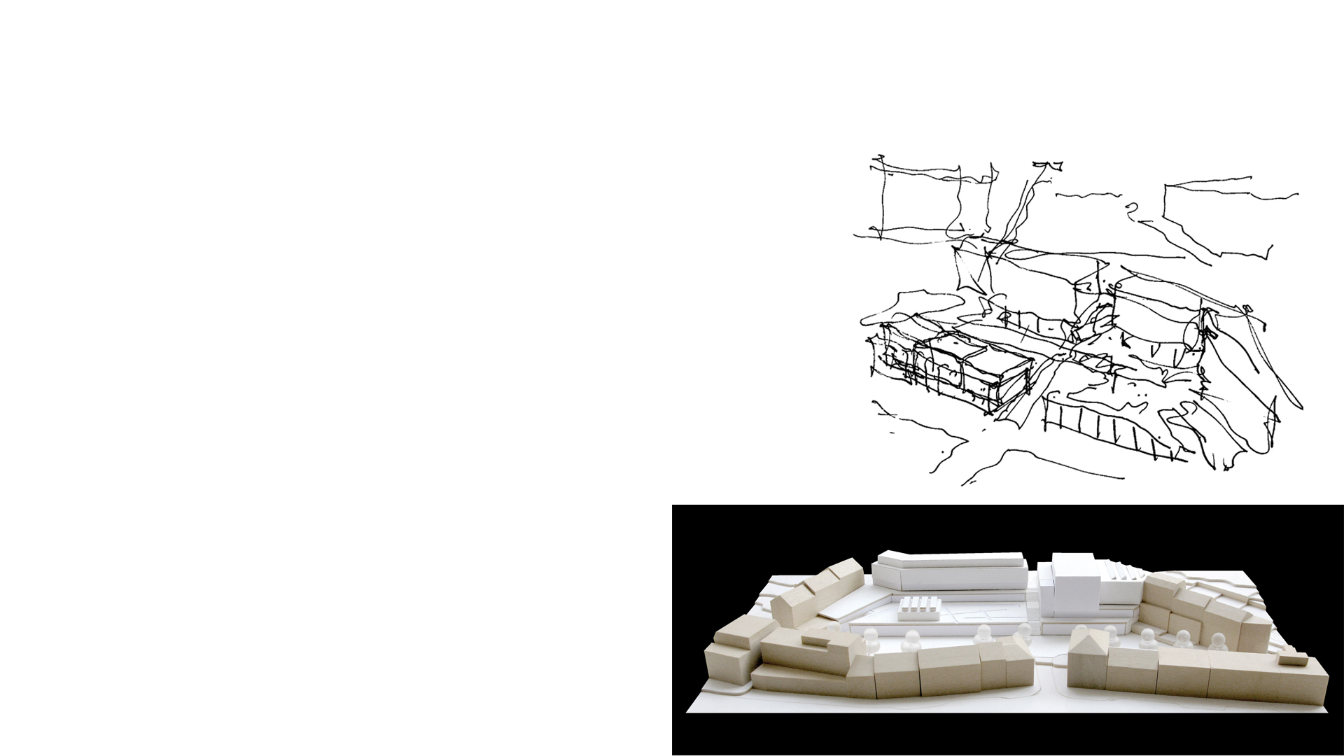 Keith Williams' concept sketch and massing model showing the form for the new Molde Theatre & Jazzhouse Molde Norway