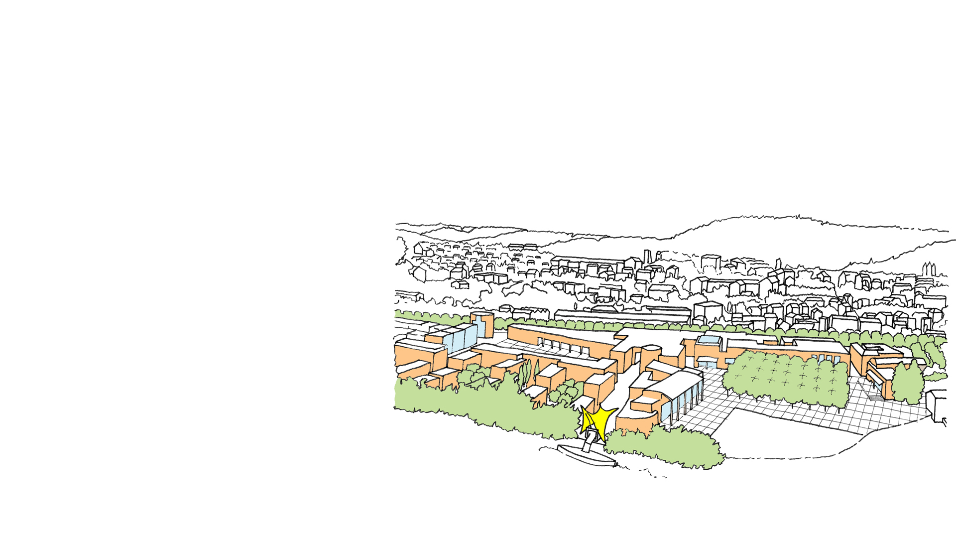 Aerial sketch showing extent of urban masterplan for the Plaine du Pal alongside the River Lot in Cahors France by Keith Williams Architects.