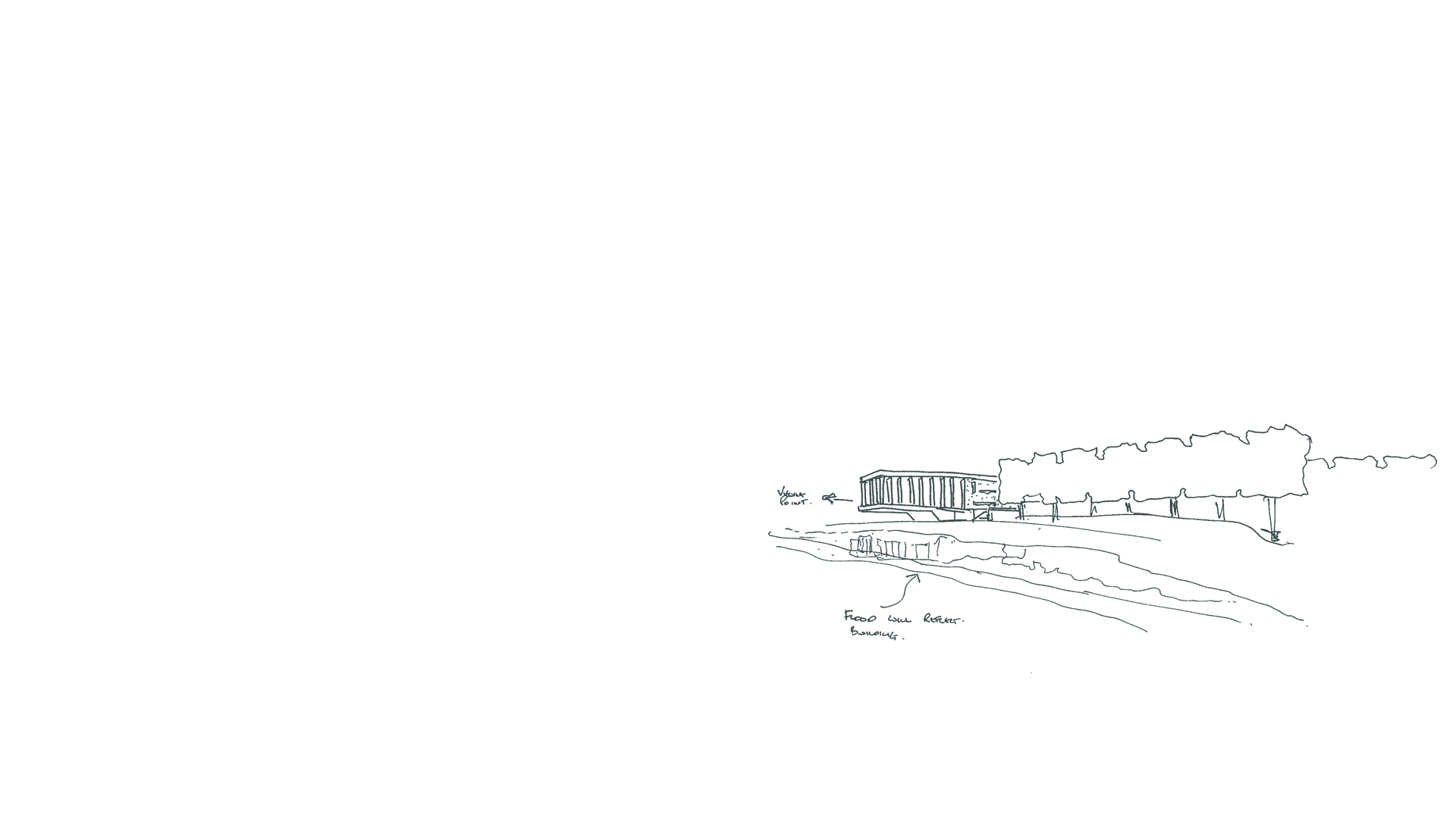 Concept sketch by Richard Brown of the Kulturhaus in Alzenau Germany, showing the main concert hall projecting into the parkland
