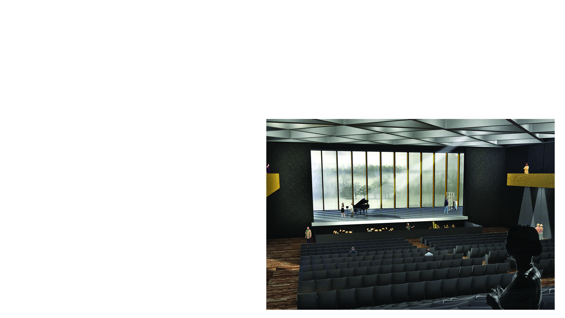 Interior rendered image of the concert hall and conference venue at the proposed Kulturhaus in Alzenau Germany