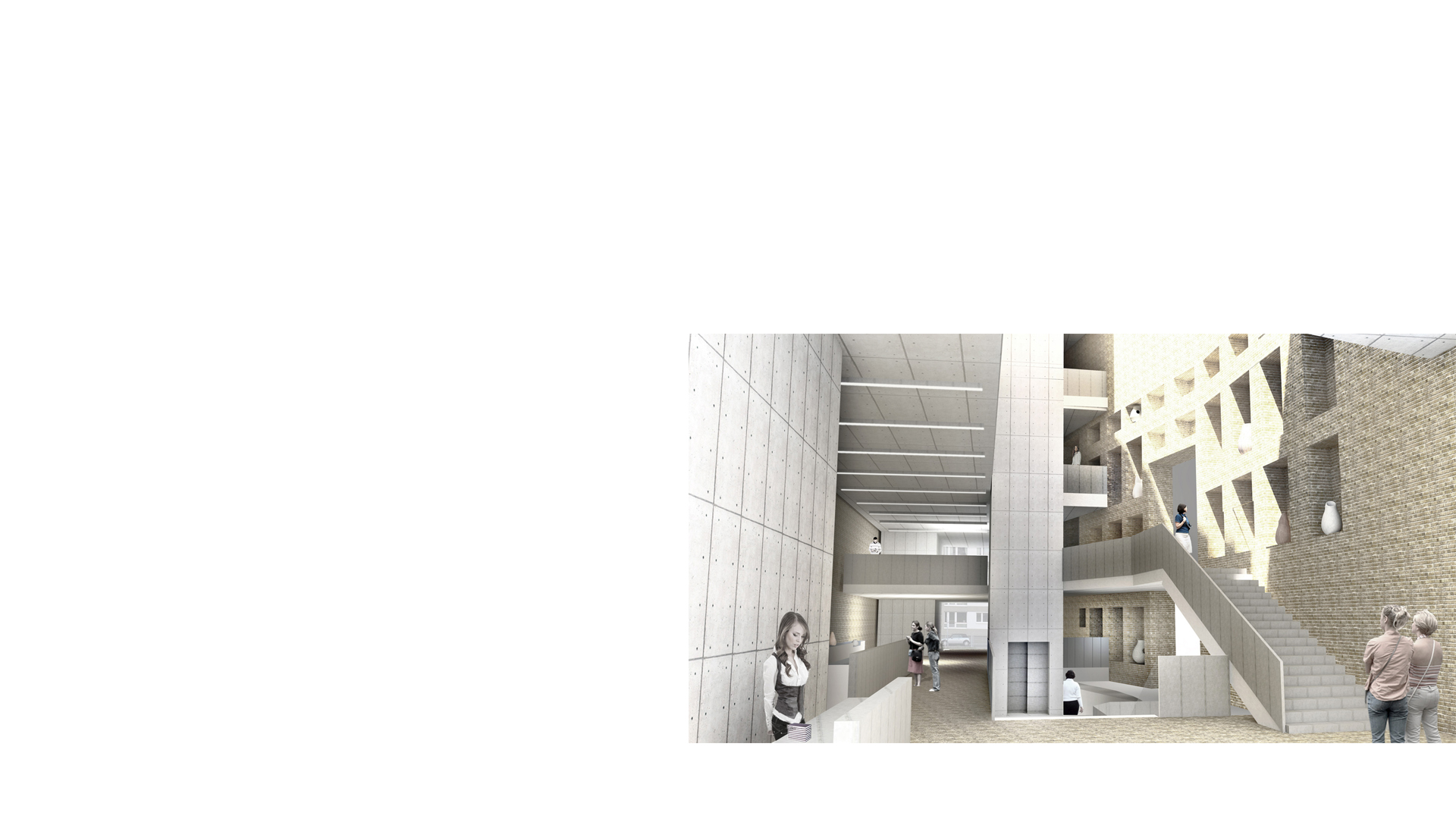 Composite rendering of the interior main hall of the Museum and Centre for Conservation Studies Petriplatz Berlin