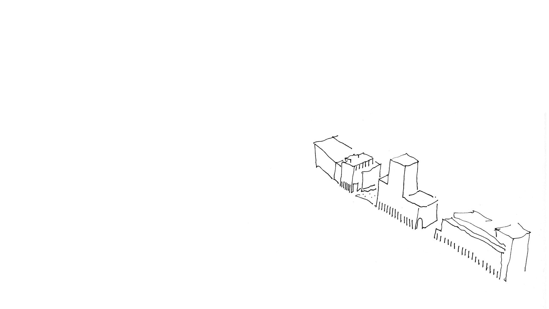 Keith Williams' concept sketch for the Museum and Centre for Conservation Studies Petriplatz Berlin (archäologisches besucherzentrum petriplatz)