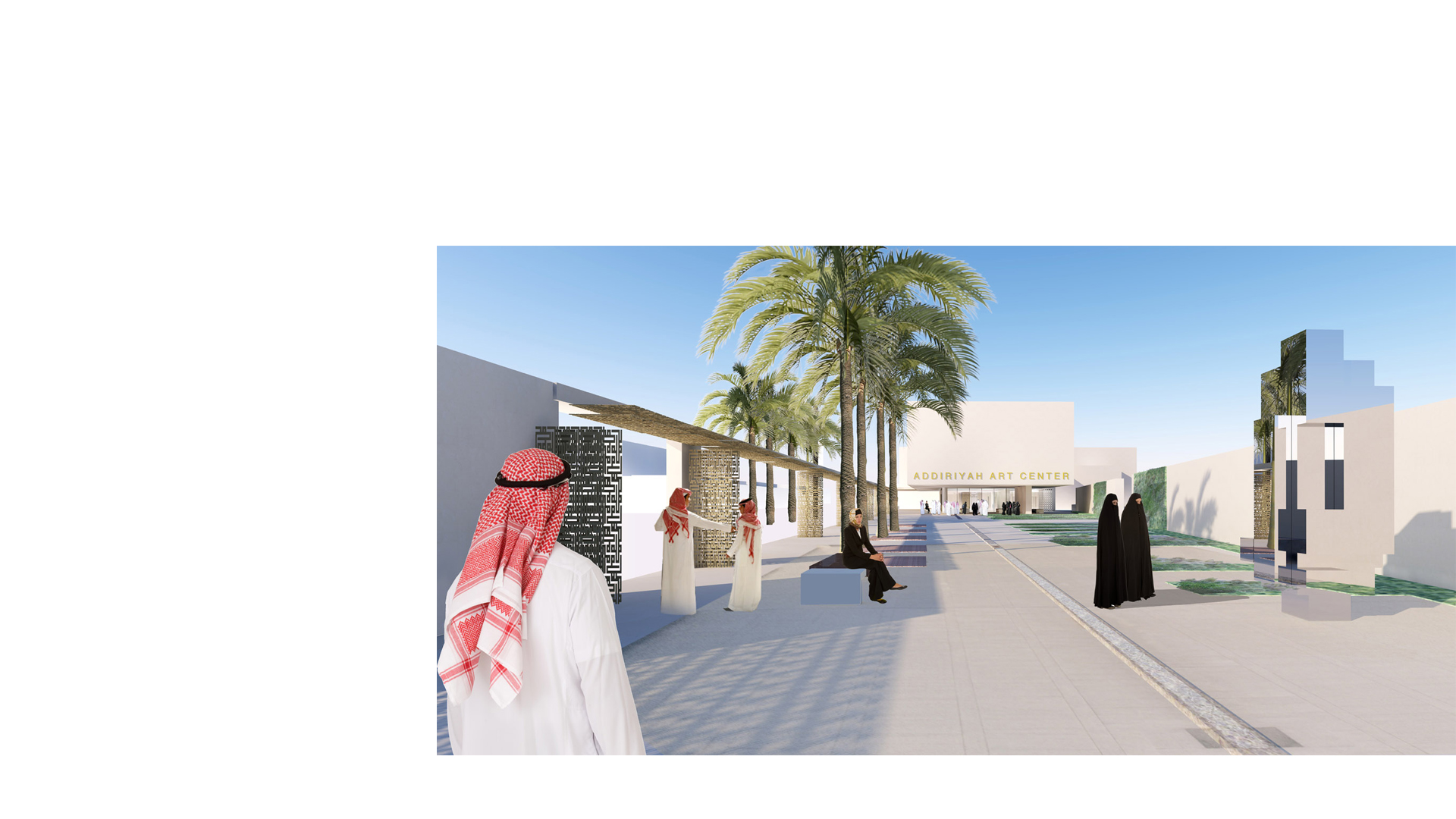 3D composite render of the sculpture garden at the Addiriyah Arts Centre and Teaching Academy, Riyadh
