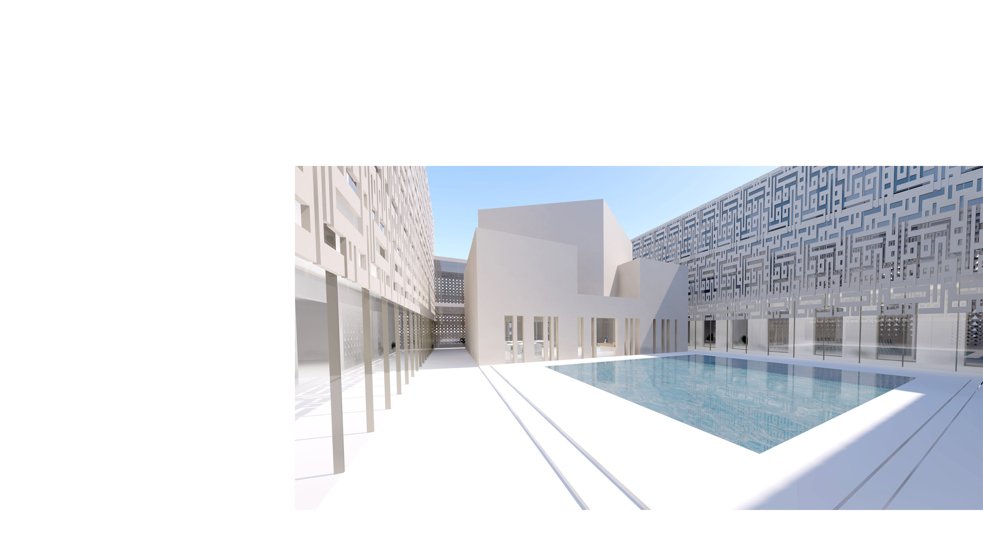Main Court with Library and Art School at the Addiriyah Arts Centre and Teaching Academy in Riyadh