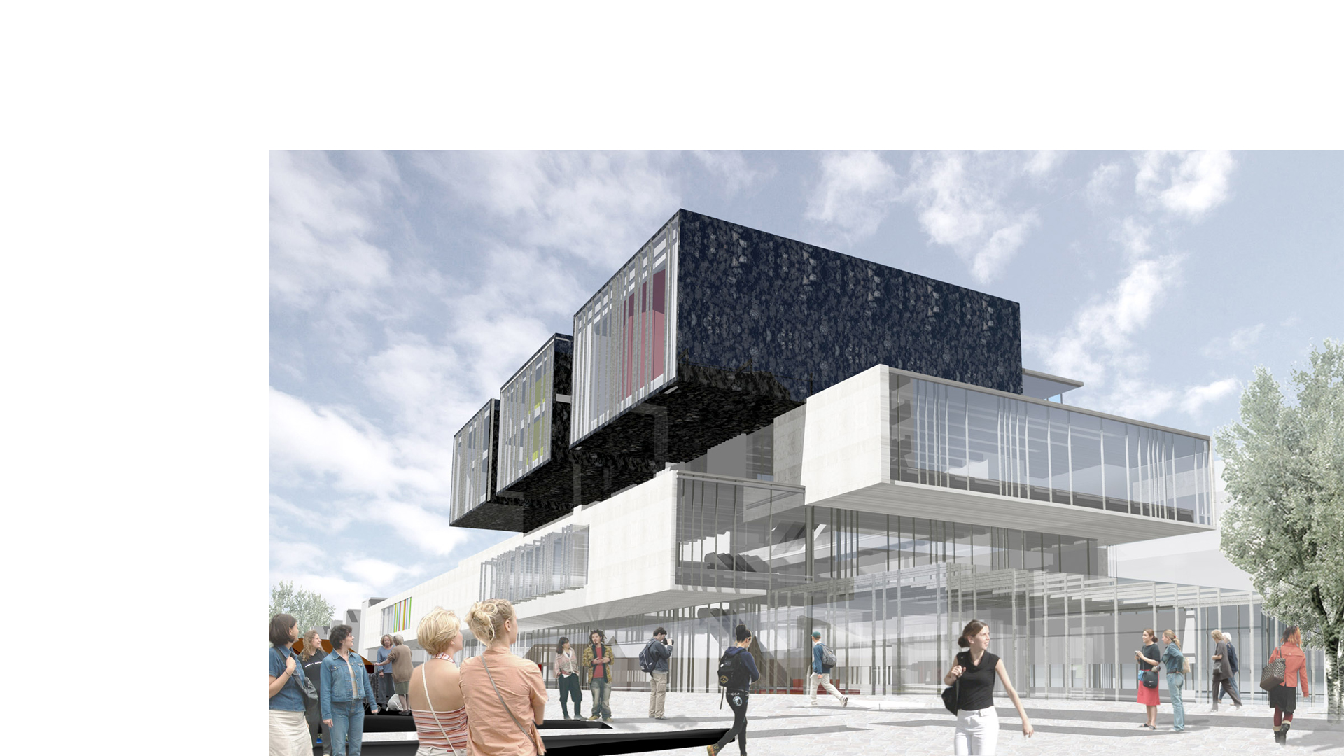 3D composite render of the main entrance and building form for the Helsinki Central Library