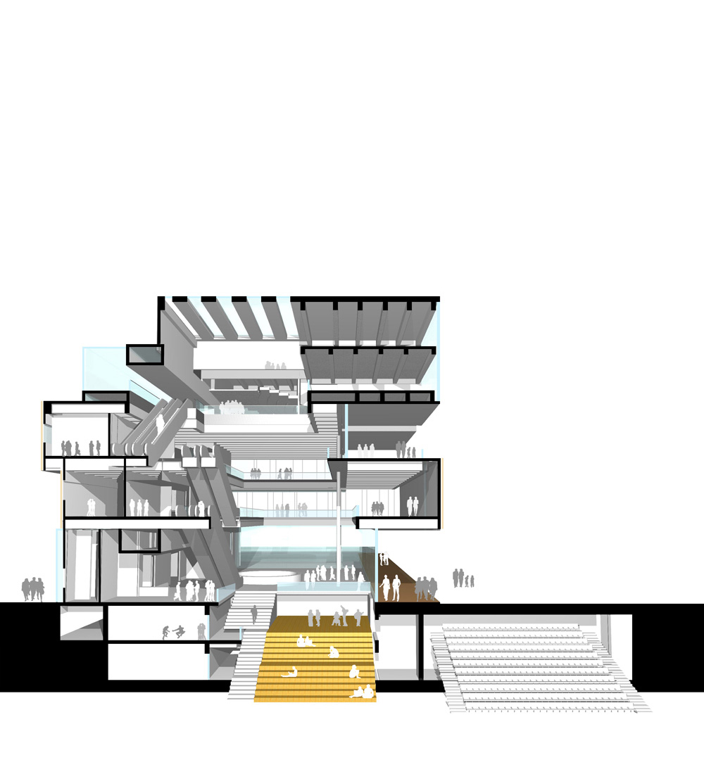 Rendered perspective section through Helsinki Central Library showing main public library spaces and lecture hall.