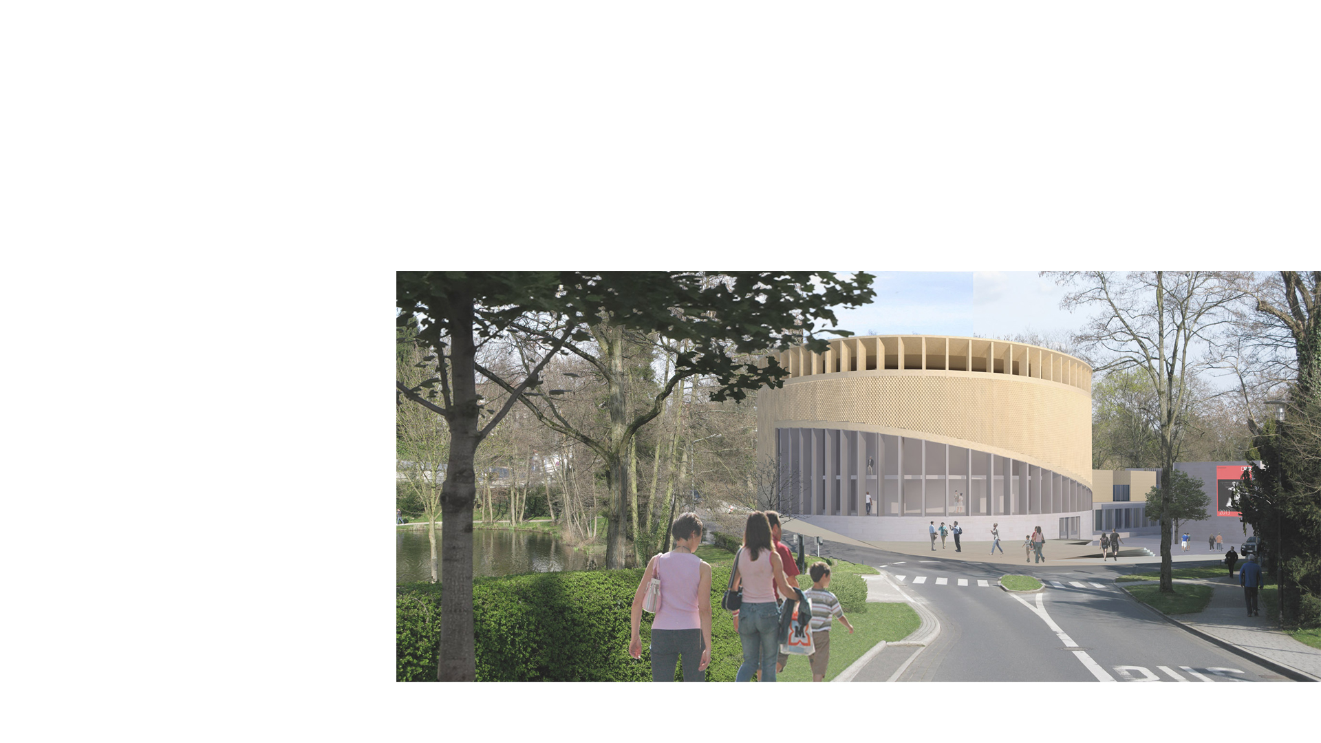 3D composite render of the proposed recital hall at the Kronberg Academy & Music School, seen from Blechstraße with Viktoria Park to the left