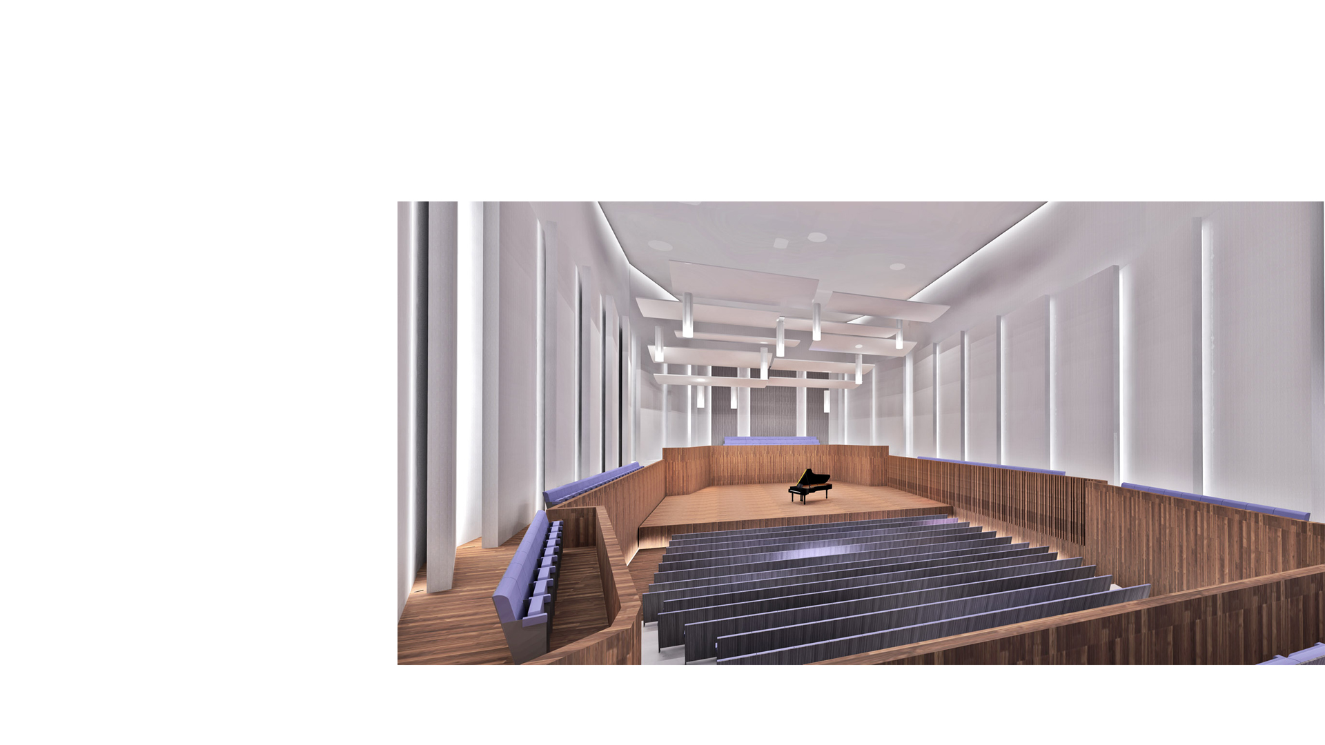 Image of the proposed recital hall interior looking toward the platform at the Kronberg Academy & Music School