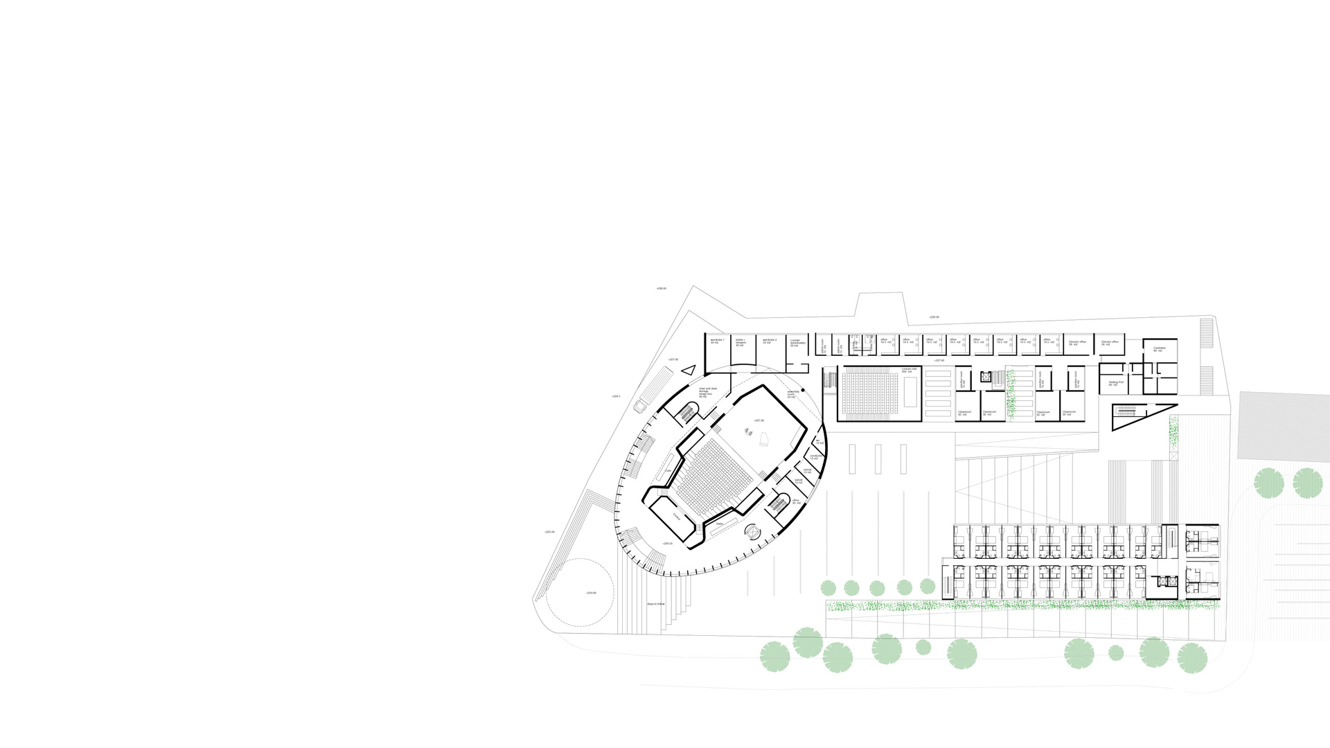 Ground floor plan showing the recital hall within the egg shaped element and the music school at the Kronberg Academy & Music School, Kronberg, Germany