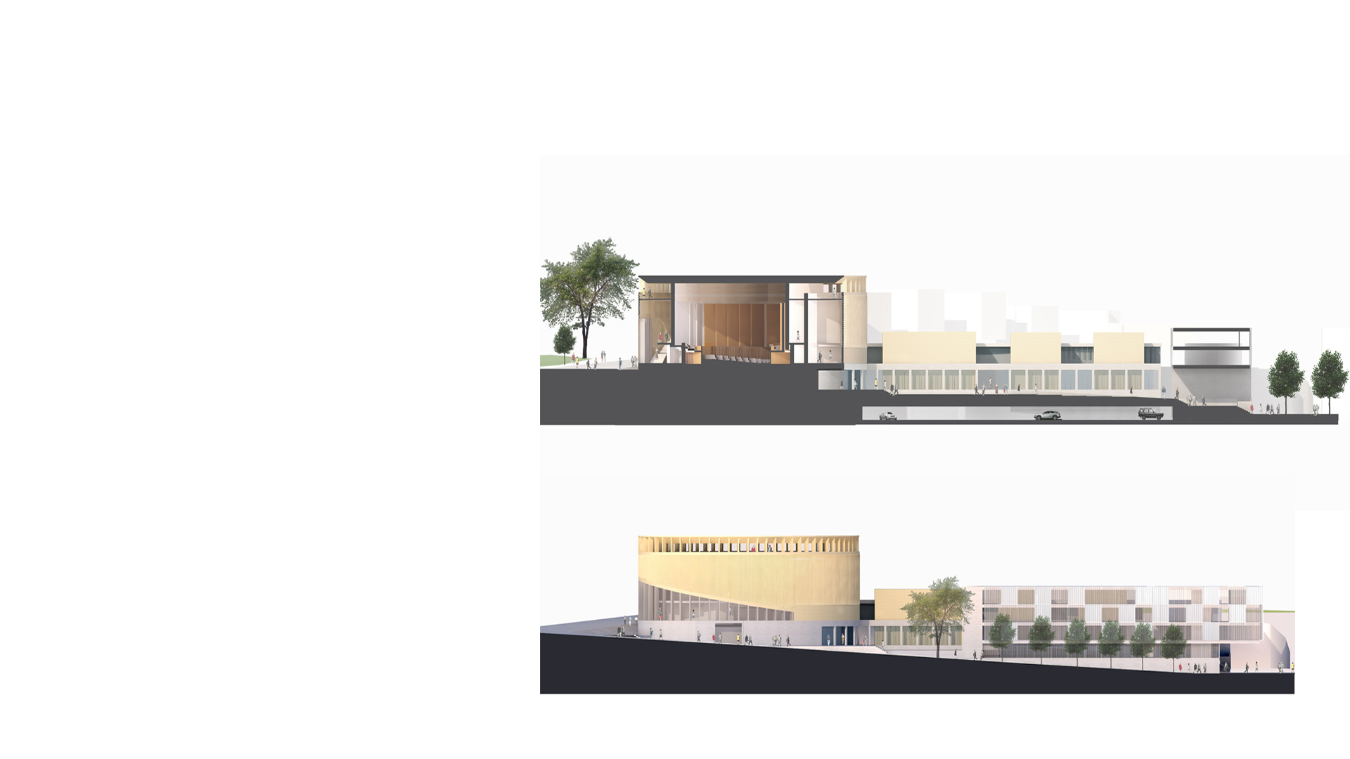 Context elevation and section at the Kronberg Academy & Music School