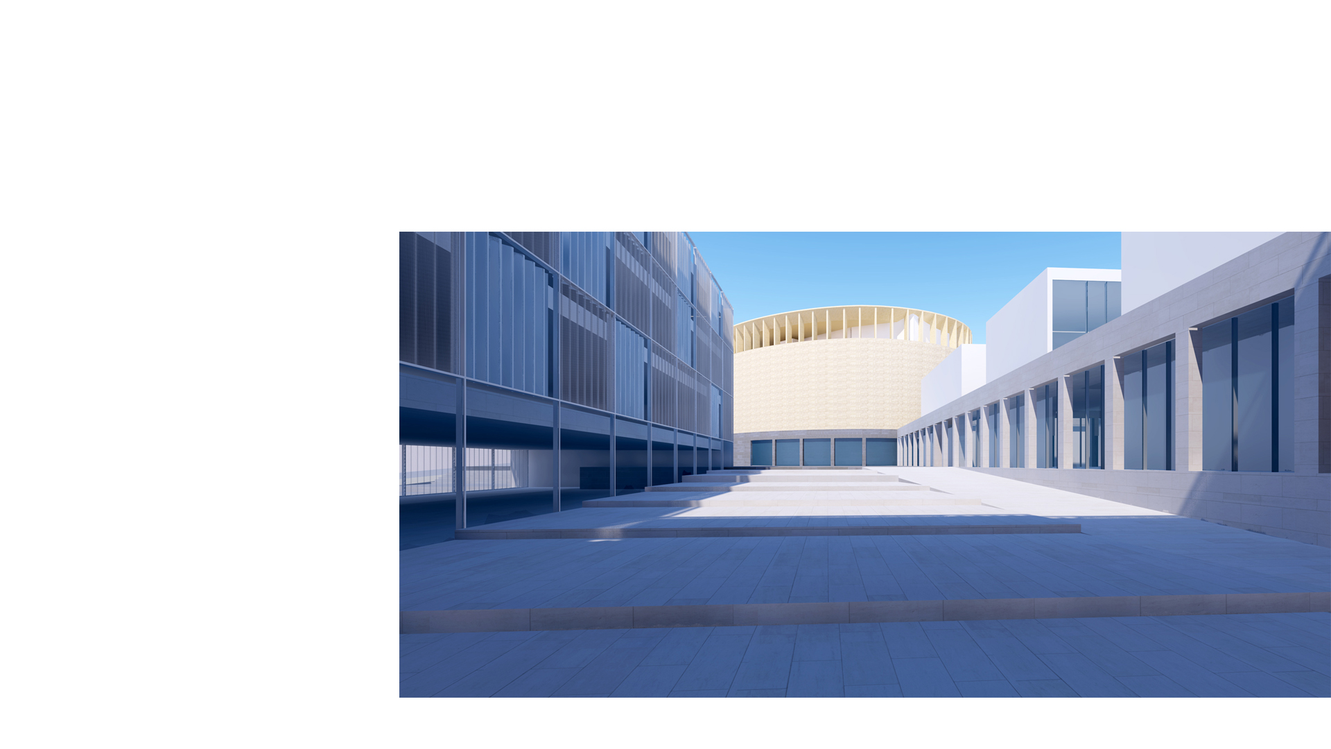 3D composite render of the proposed recital hall and music school at the Kronberg Academy, seen from the new courtyard. The proposed hotel is seen too the left.