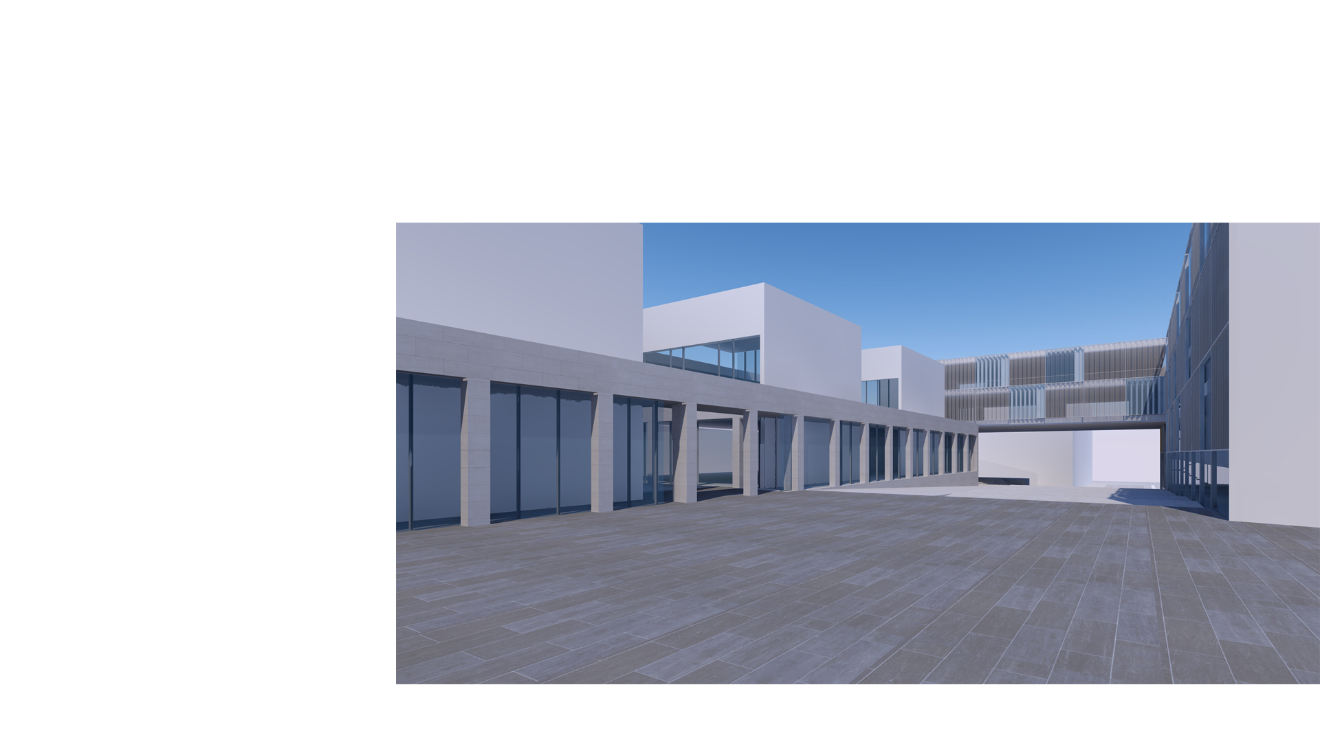 3D composite render of the proposed music school and practice rooms at the Kronberg Academy, as seen from the new courtyard