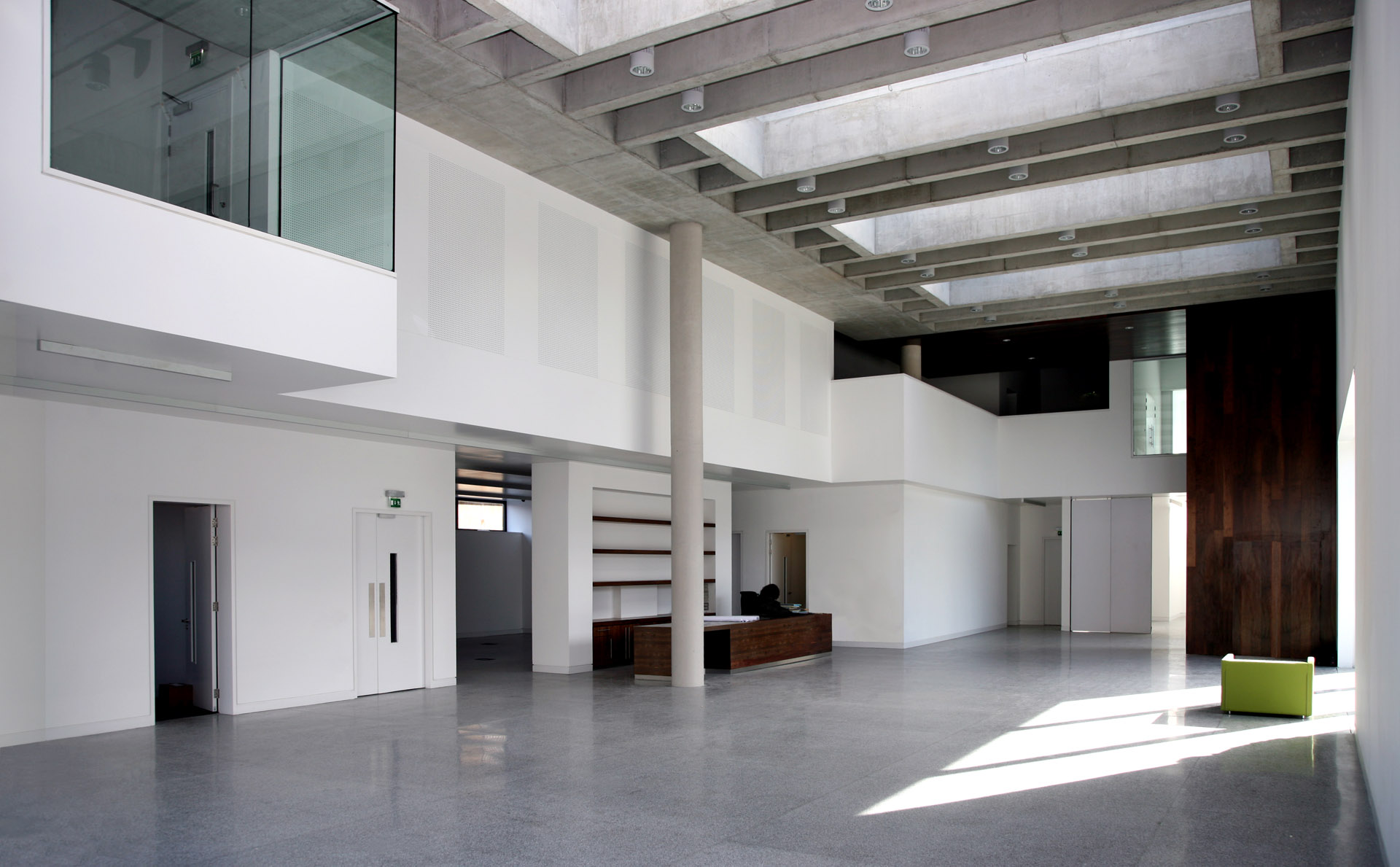 Clones Library and County Library HQ interior before fit-out. The rooflights open automatically as a key part of the natural ventilation and sustainability strategy.
