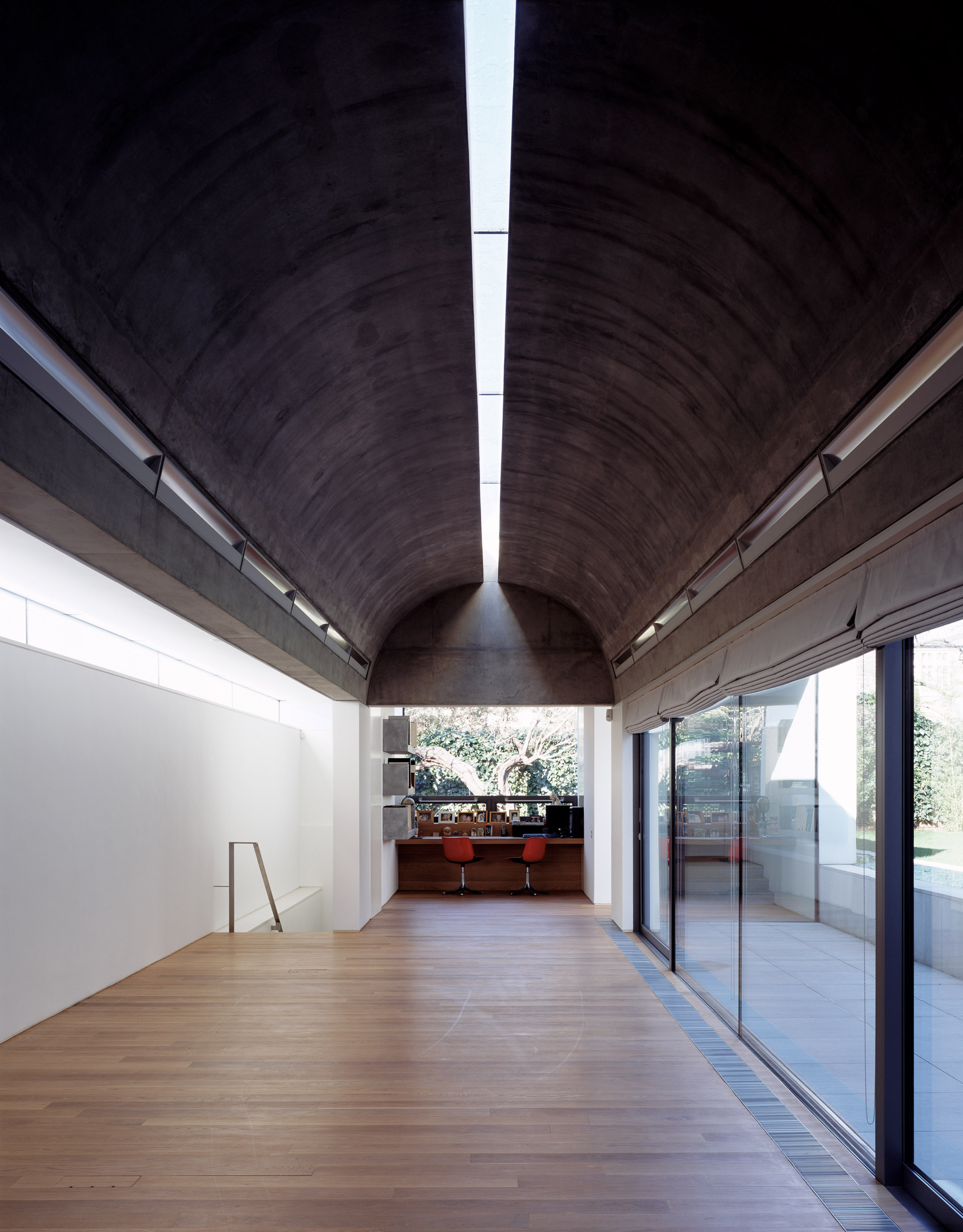 Concrete vaulted reception room at the Long House London