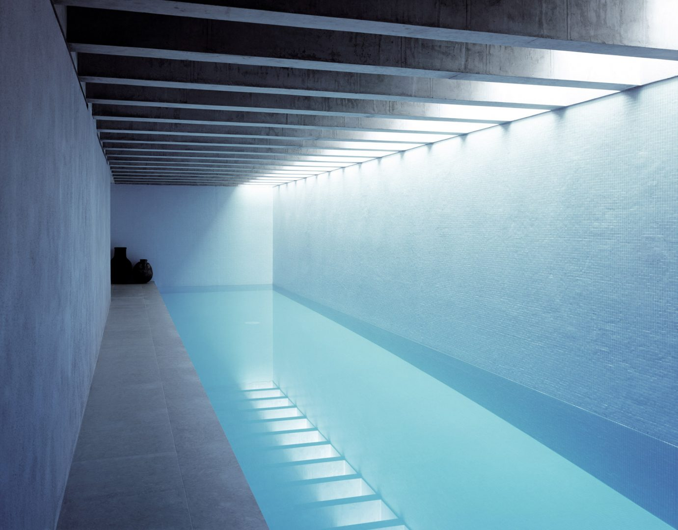 Oblique view of the subterranean toplit 20m swimming pool at the Long House
