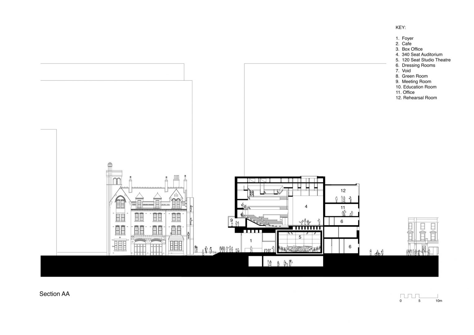 Section through the main auditorium, the Weston Theatre at the Unicorn. Drawing by Keith Williams Architects