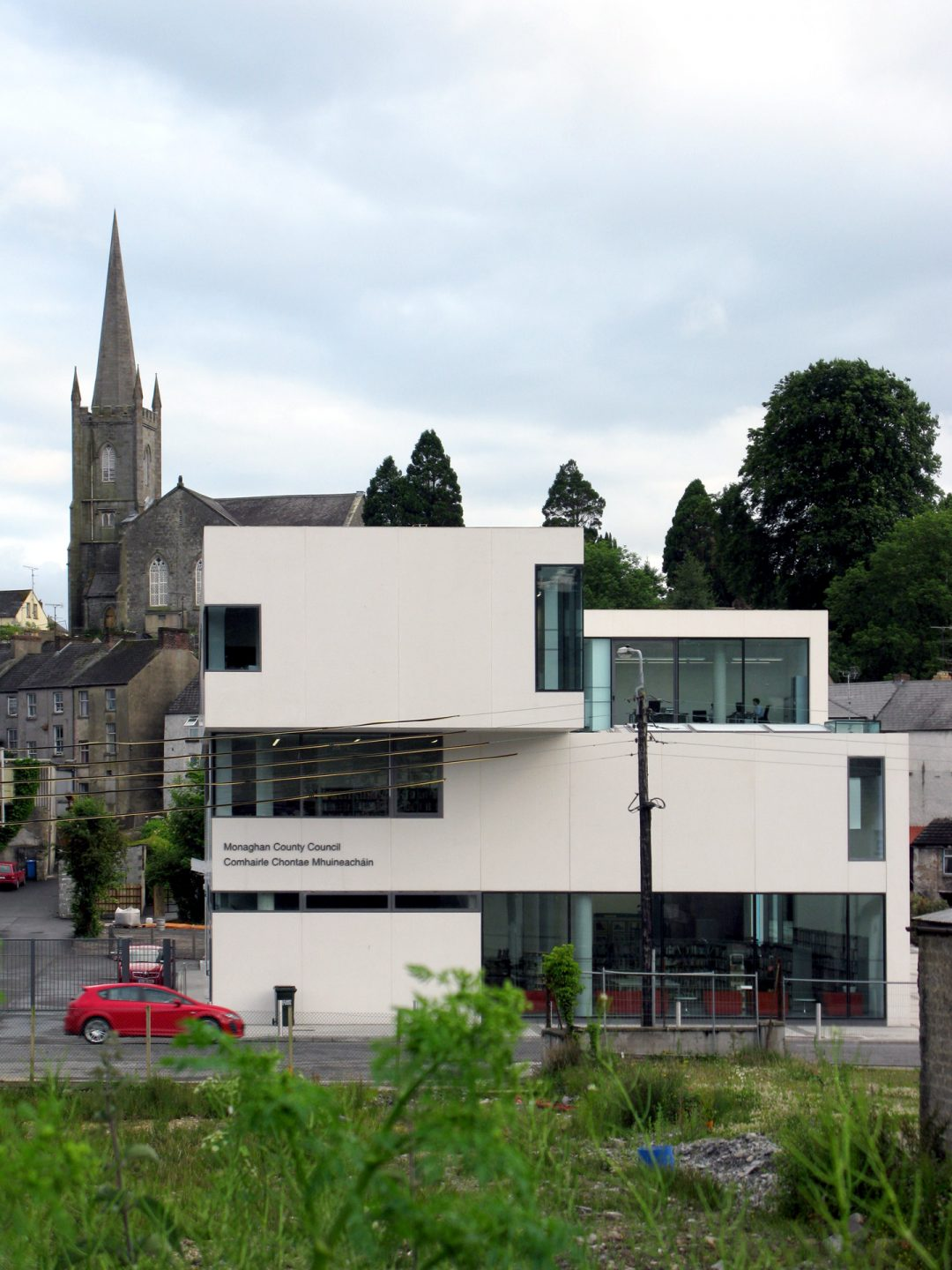 Western facade of Clones Library and County Library HQ Ireland by Keith Williams Architects