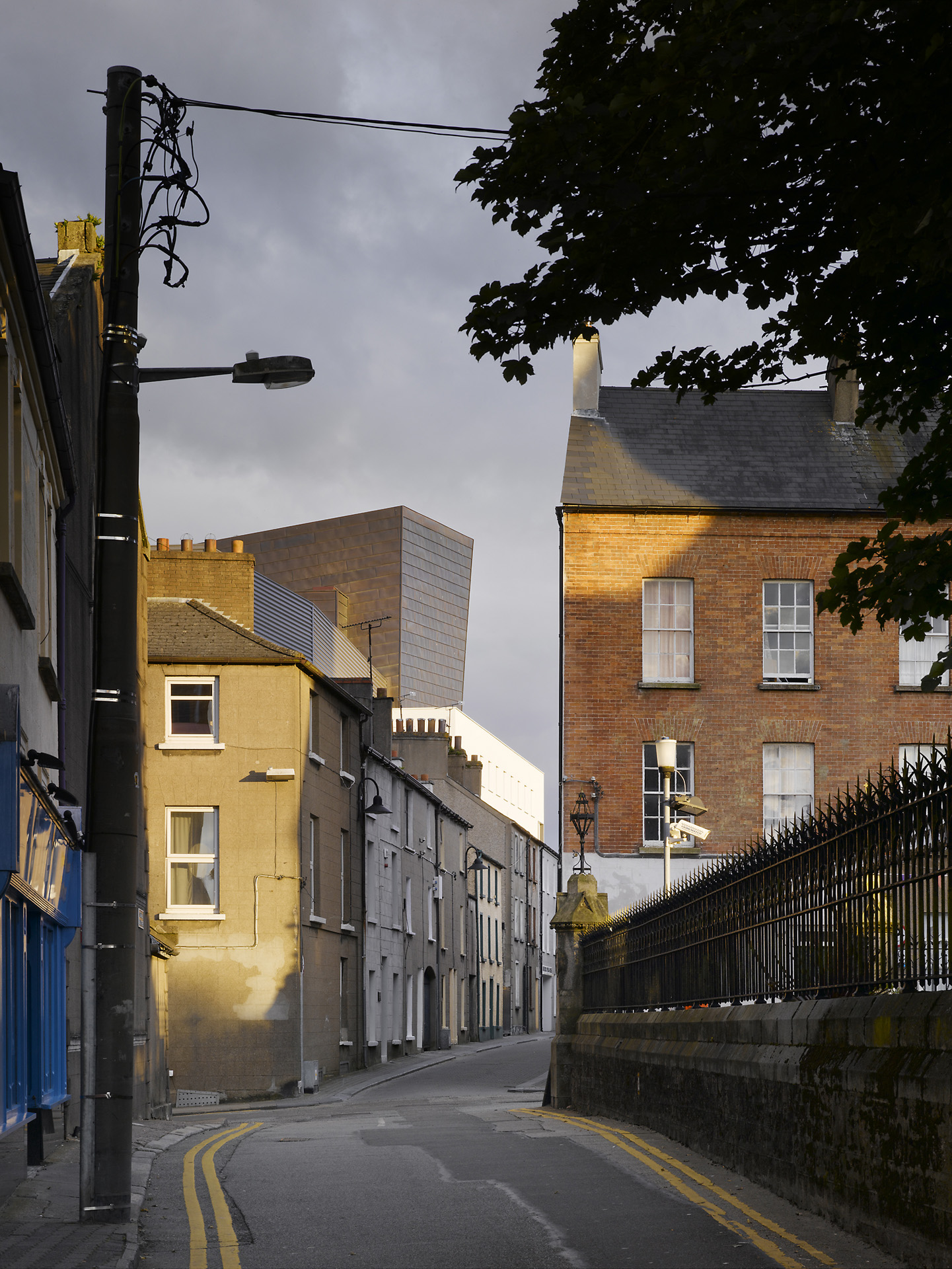National Opera House Wexford viewed from the north along High Street with fly tower above the roofscape