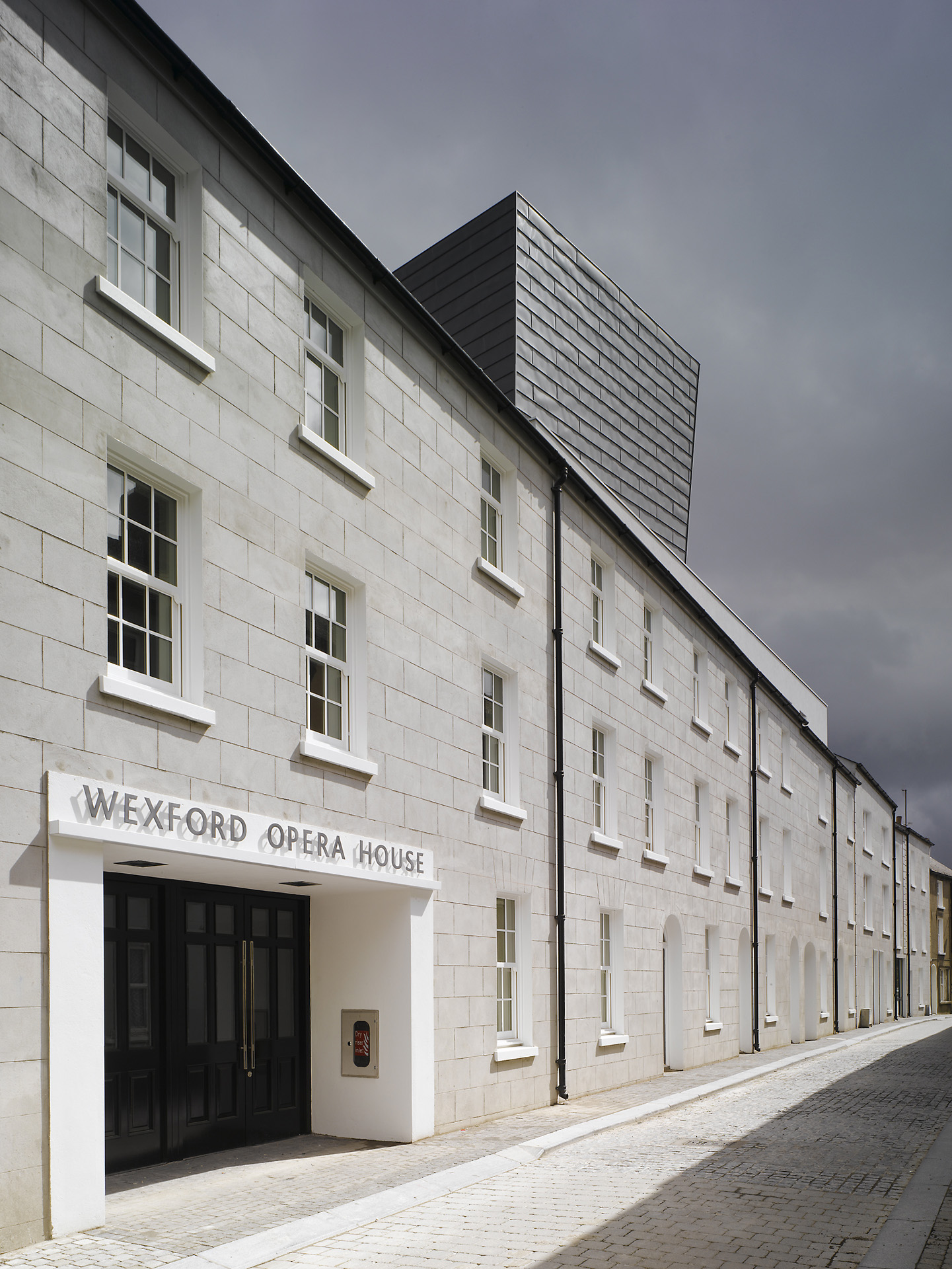Main entrance formed in the existing terraced buildings at the National Opera House Wexford Ireland