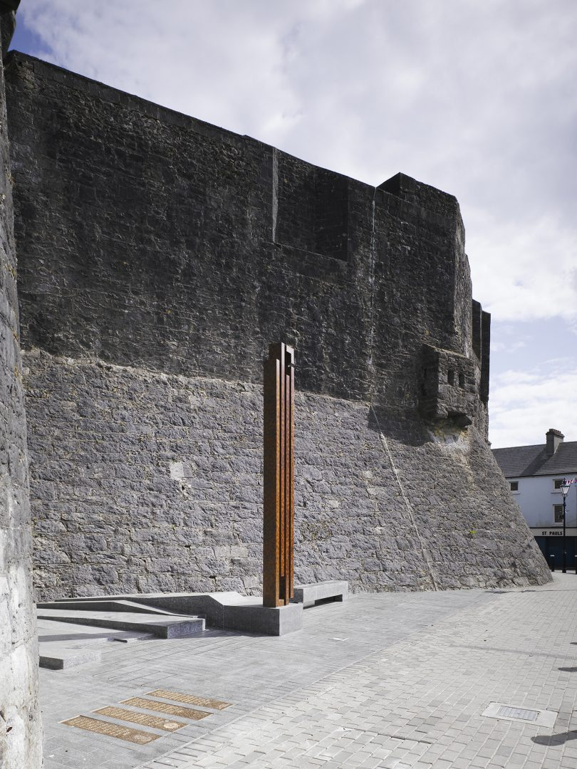Athlone Army Memorial against Athlone Castle walls
