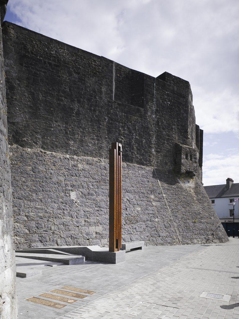 Athlone Army Memorial against Athlone Castle walls