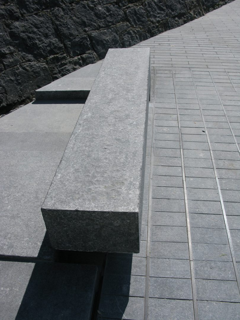 Irish limestone seating and base detail at Athlone Army Memorial, Athlone Castle, Ireland