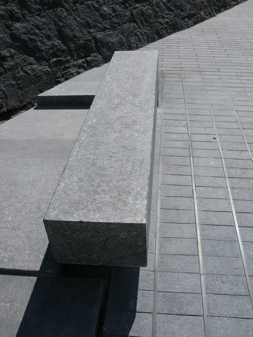 Irish limestone seating and base detail at Athlone Army Memorial, Athlone Castle, Ireland