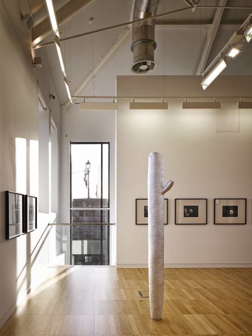 Detail of the main exhibition gallery in the converted historic wing (the former Father Mathew Hall) at the Luan Gallery, Athlone