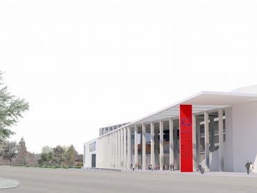 3D Composite rendering of the proposed Rhein Main Hallen Wiesbaden Germany in context