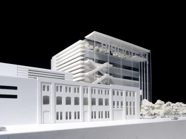 3D physical model of the proposed Centro Culturale di Torino from the Via Paulo Borsellino with the proposed city library beyond by Keith Williams Architects