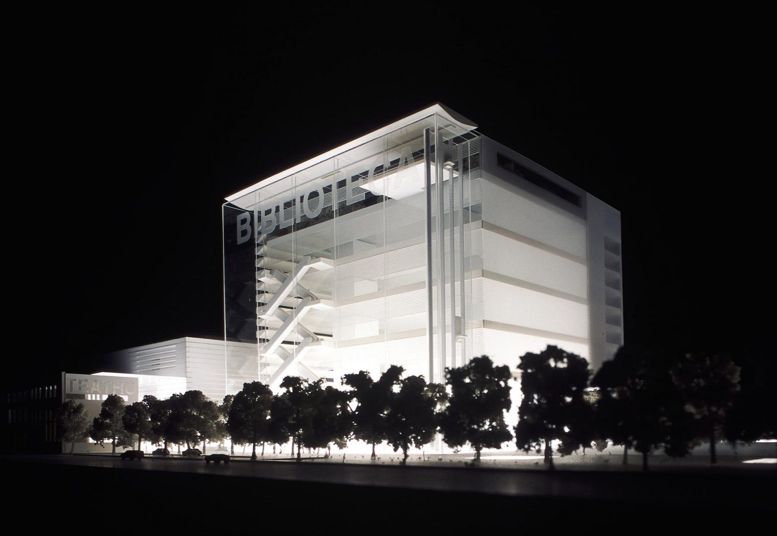 3D model of the proposed Centro Culturale di Torino at night from the Via Paulo Borsellino with the city library