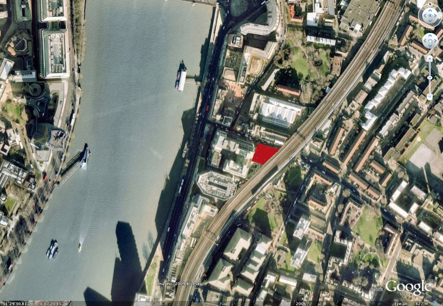Aerial view of site location, Residential Tower Black Prince Road London on the south bank of the River Thames