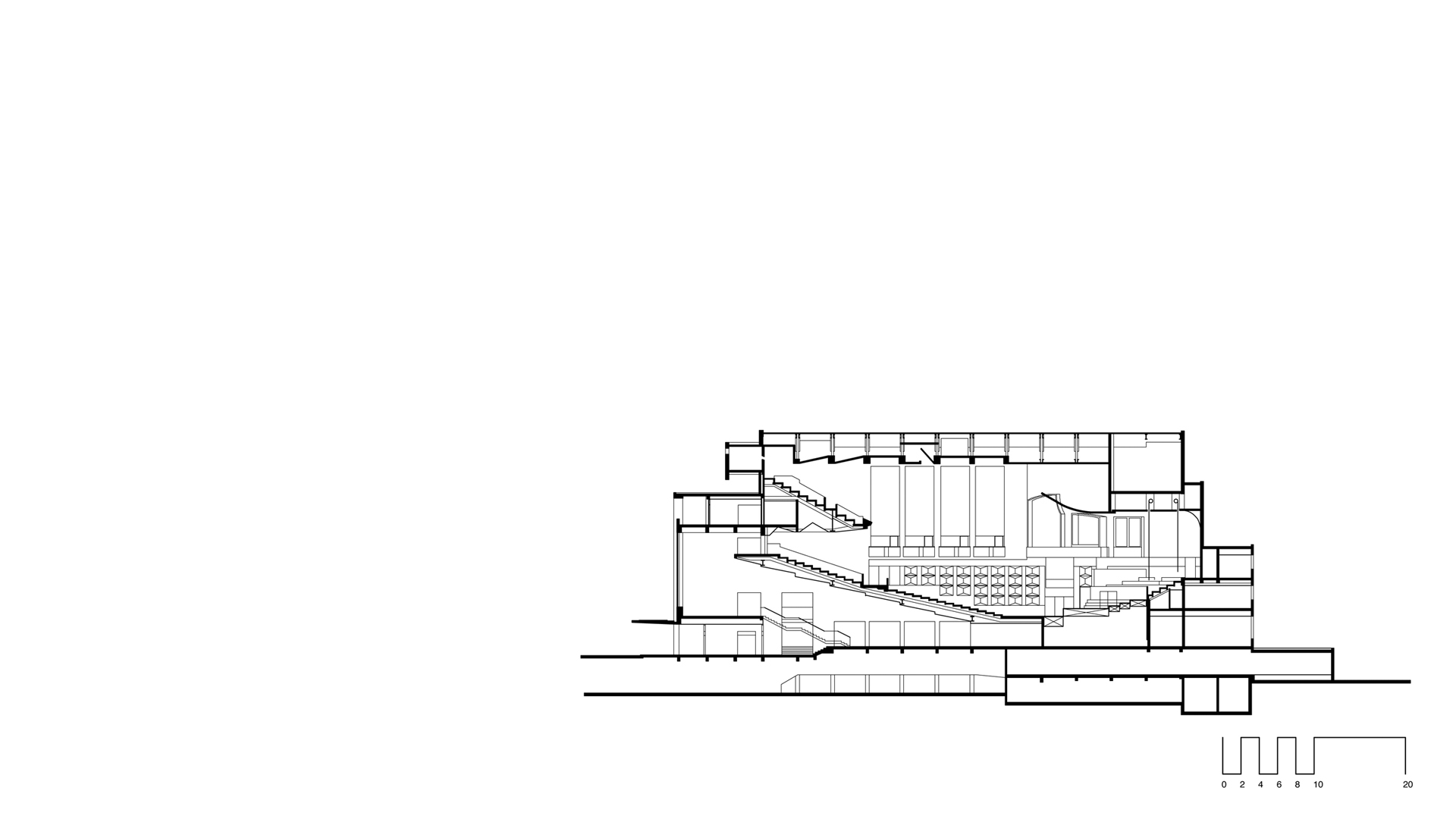 Proposed remodelling and expansion of Fairfield Halls showing section through the existing 1800 seat concert hall and foyer.