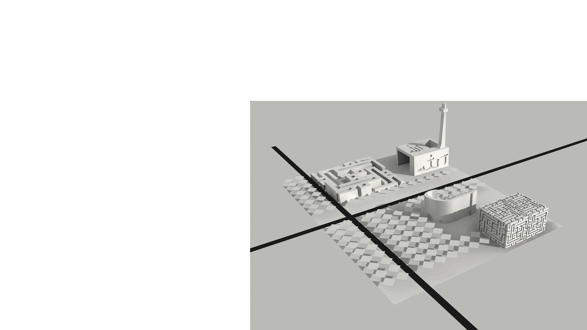 Massing Concept for a Cultural Quarter Zulfurikarabad Mega City Masterplan Pakistan