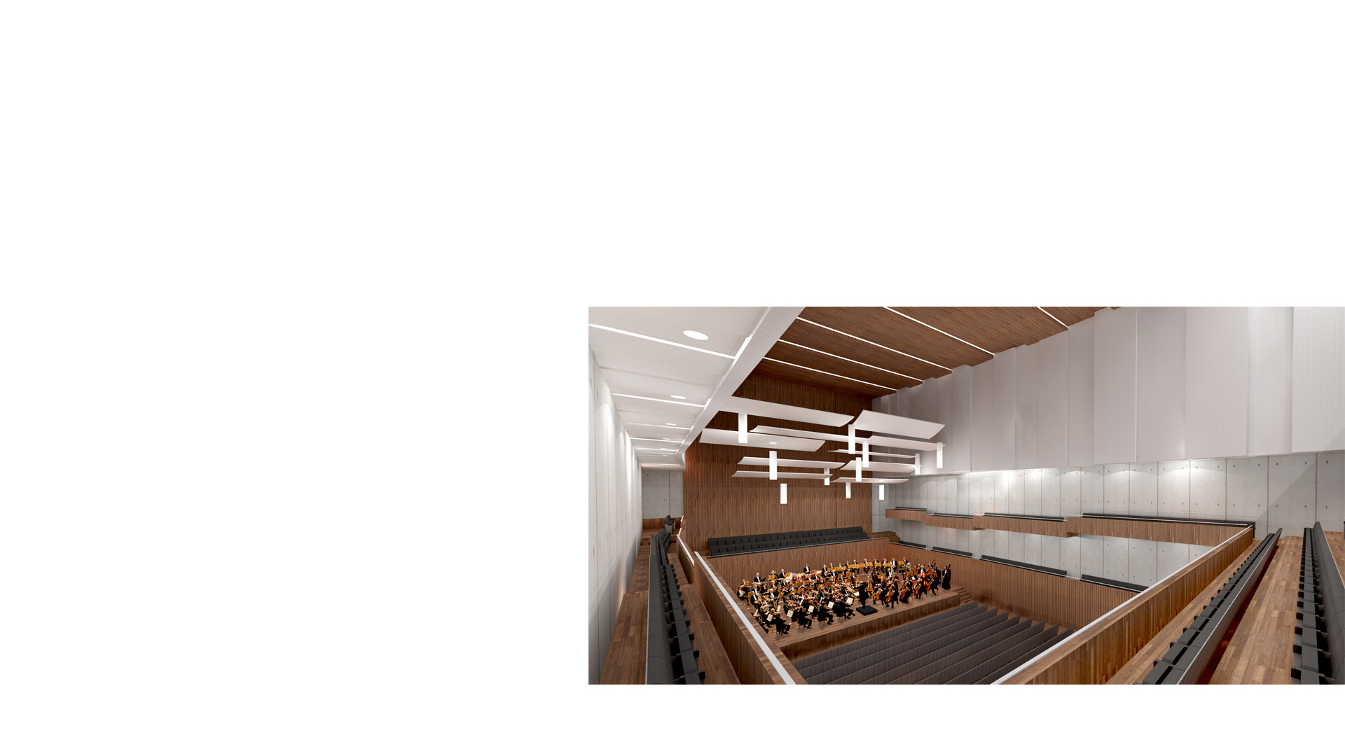 Musikzentrum Bochum rendered interior view of the main concert hall.