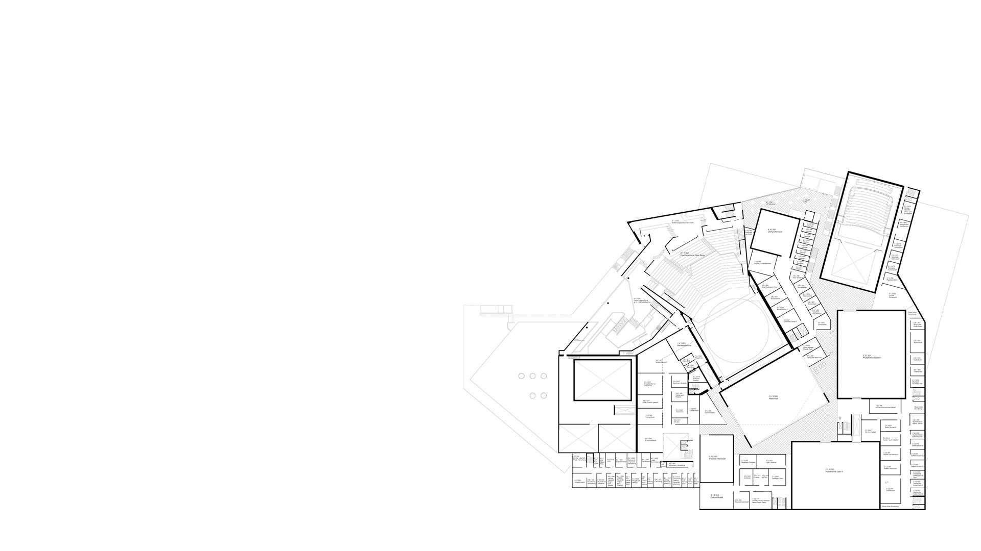 Principal level plan at the Karlsruhe Staatstheater