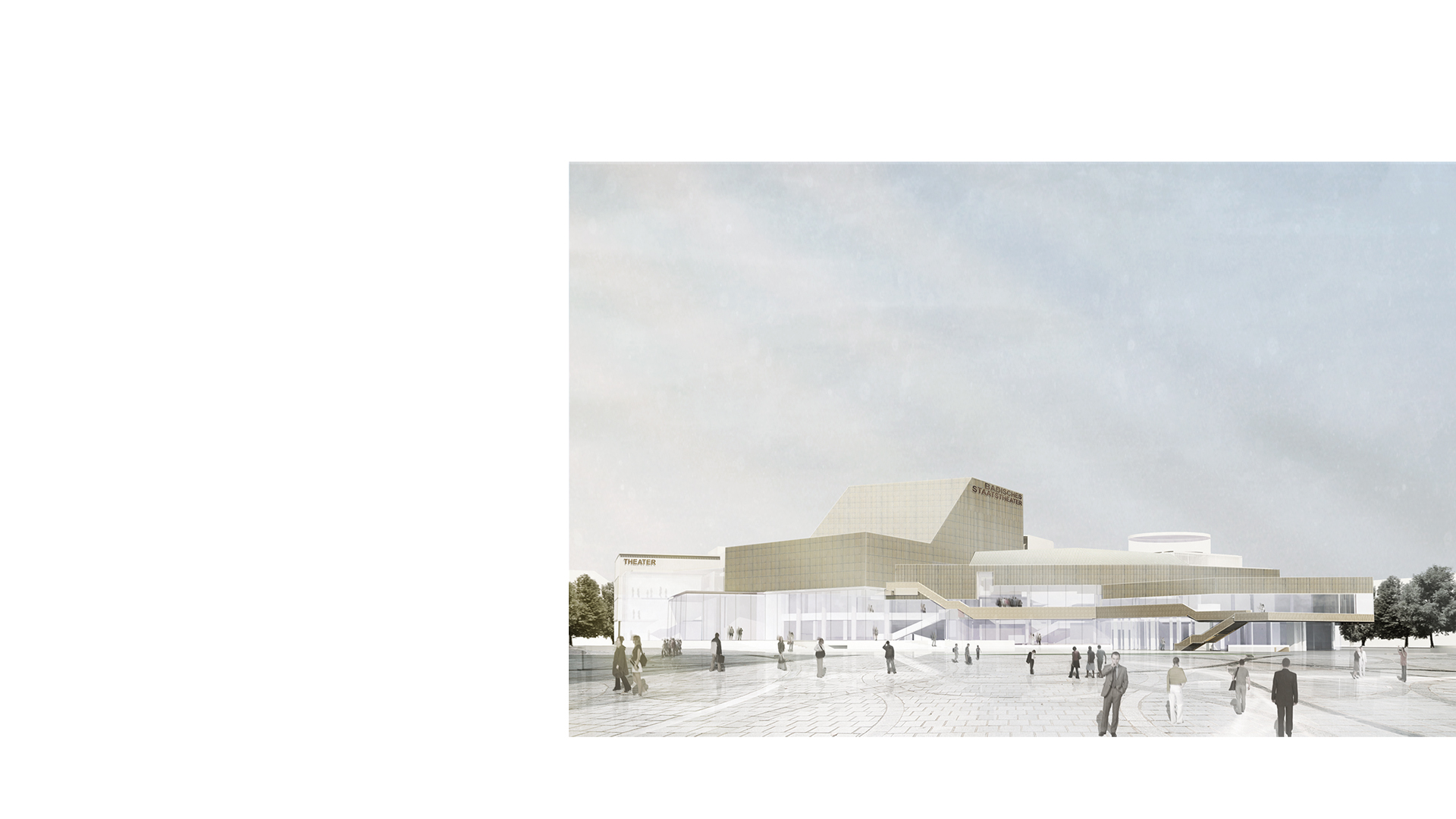 3D composite render of the remodelled and expanded Karlsruhe Staatstheater viewed from Ettlinger-Tor-Platz