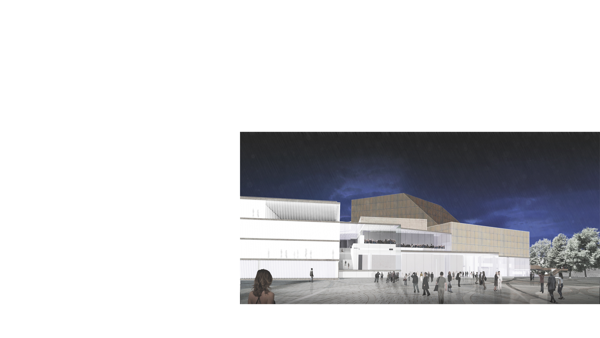 3D composite render of the remodelled and expanded Karlsruhe Staatstheater at dusk viewed from Kriegsstraße