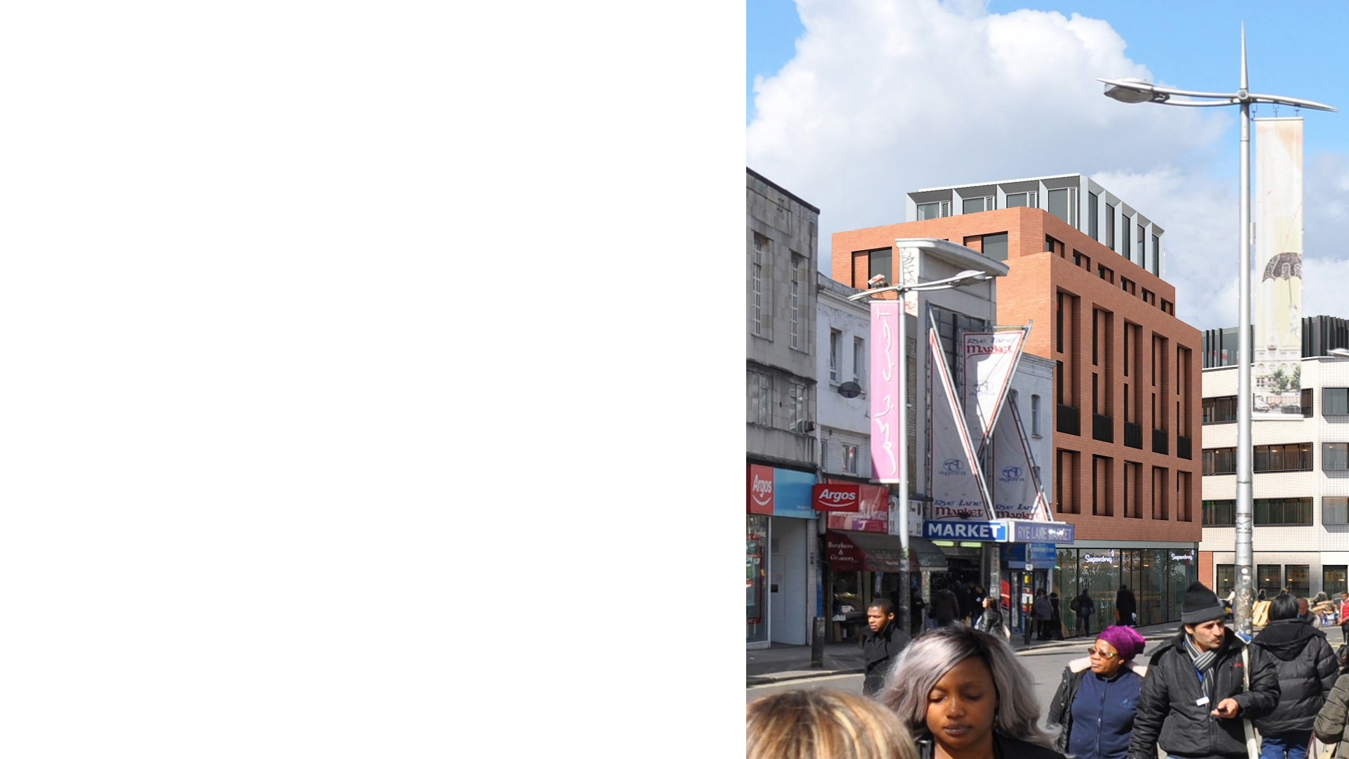 Residential led mixed development at 38-44 Rye Lane Peckham from the south along Rye Lane comprising 27 apartments and retail use at street level.