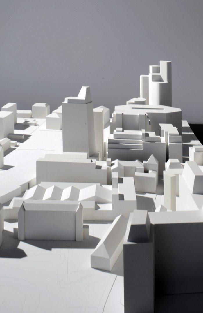 3D physical model of Residential Tower at Black Prince Road London in context shown in centre of photograph