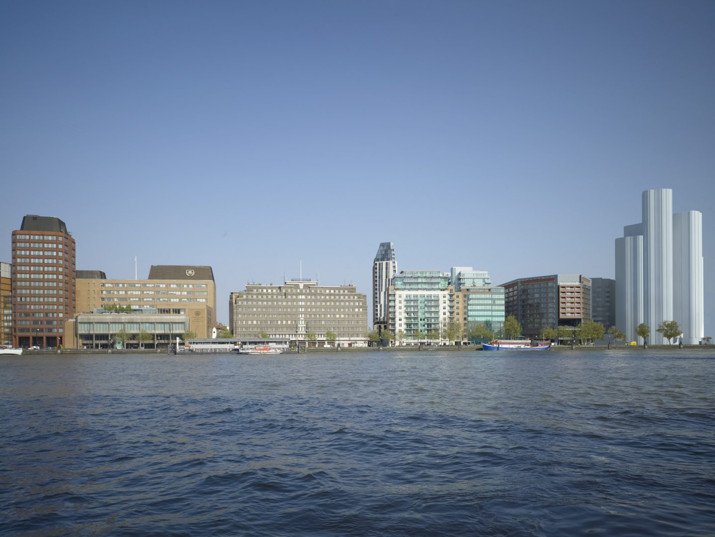 Residential Tower at Black Prince Road London : composite render of riverside context across the Thames. Image by Miller Hare.
