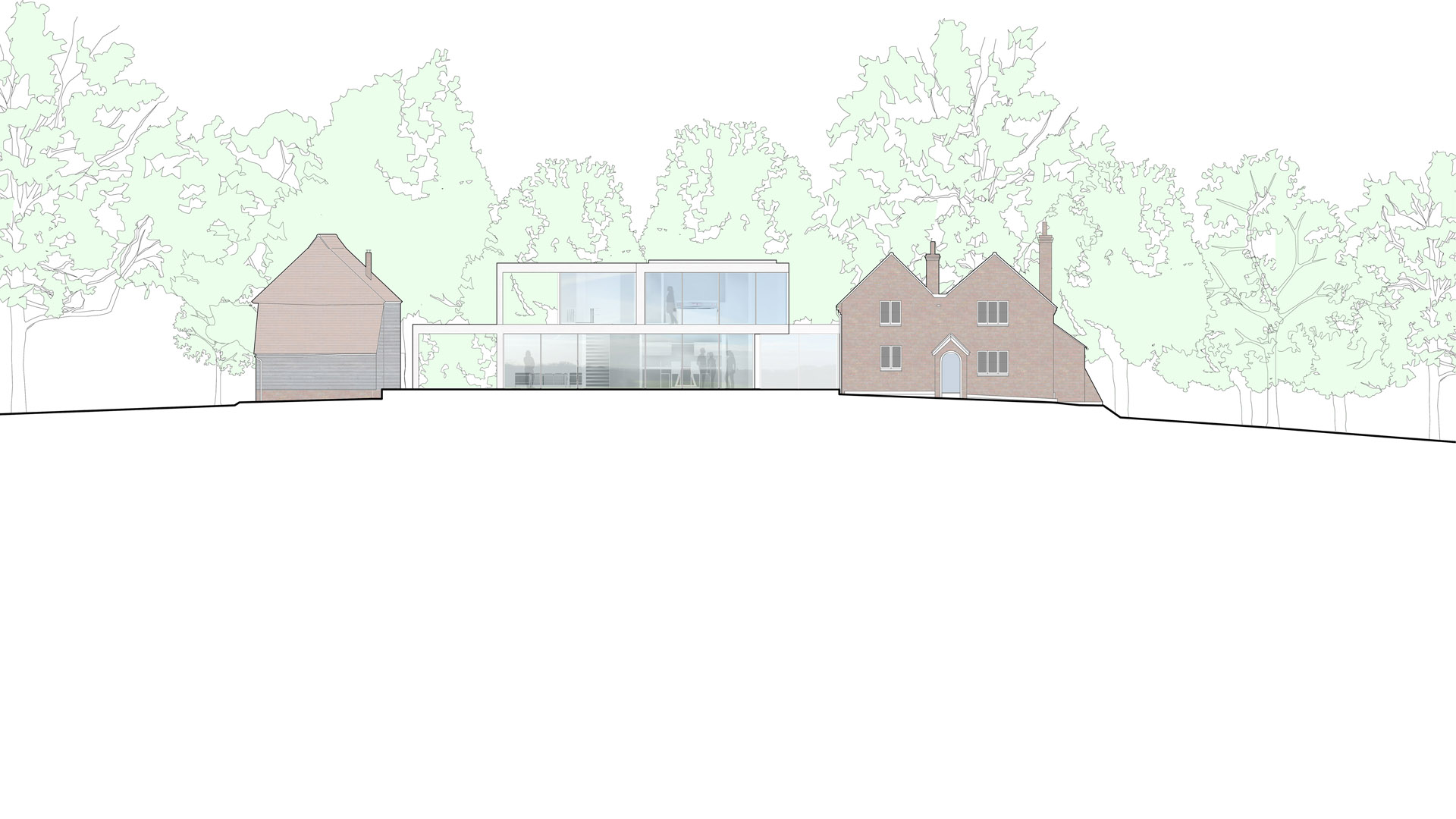 North Farm House south elevation in context flanked by an existing timber framed barn and a 19th century cottage.