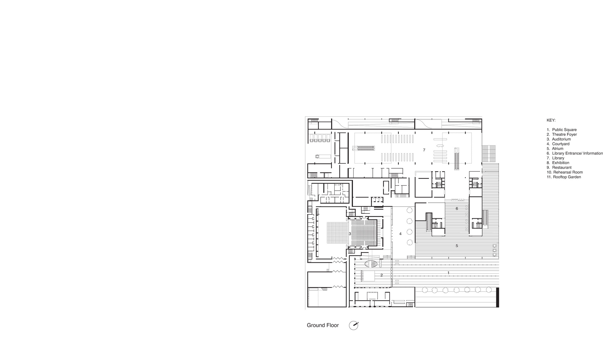 Ground level plan of the proposed Centro Culturale di Torino showing library, concert hall and piazza
