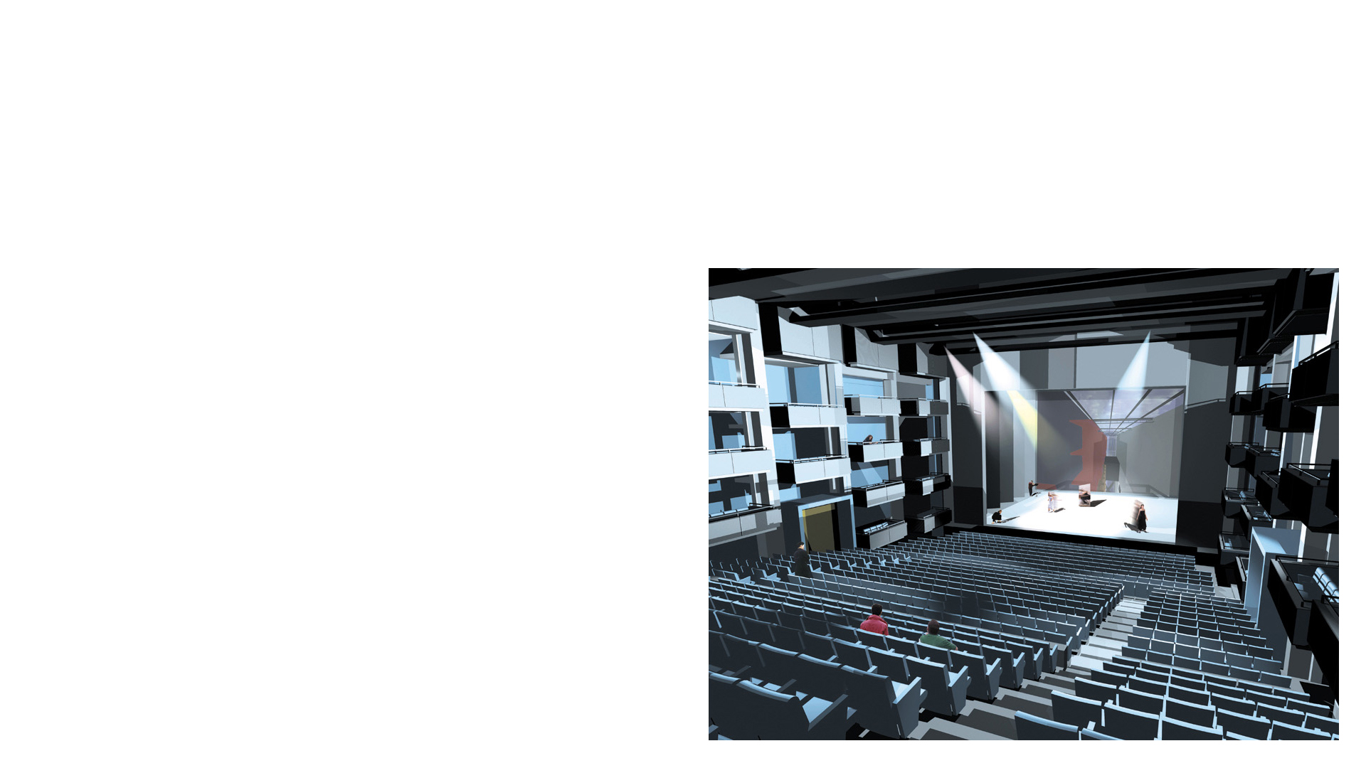 Composite rendering of the 1200 seat concert hall at the Centro Culturale di Torino