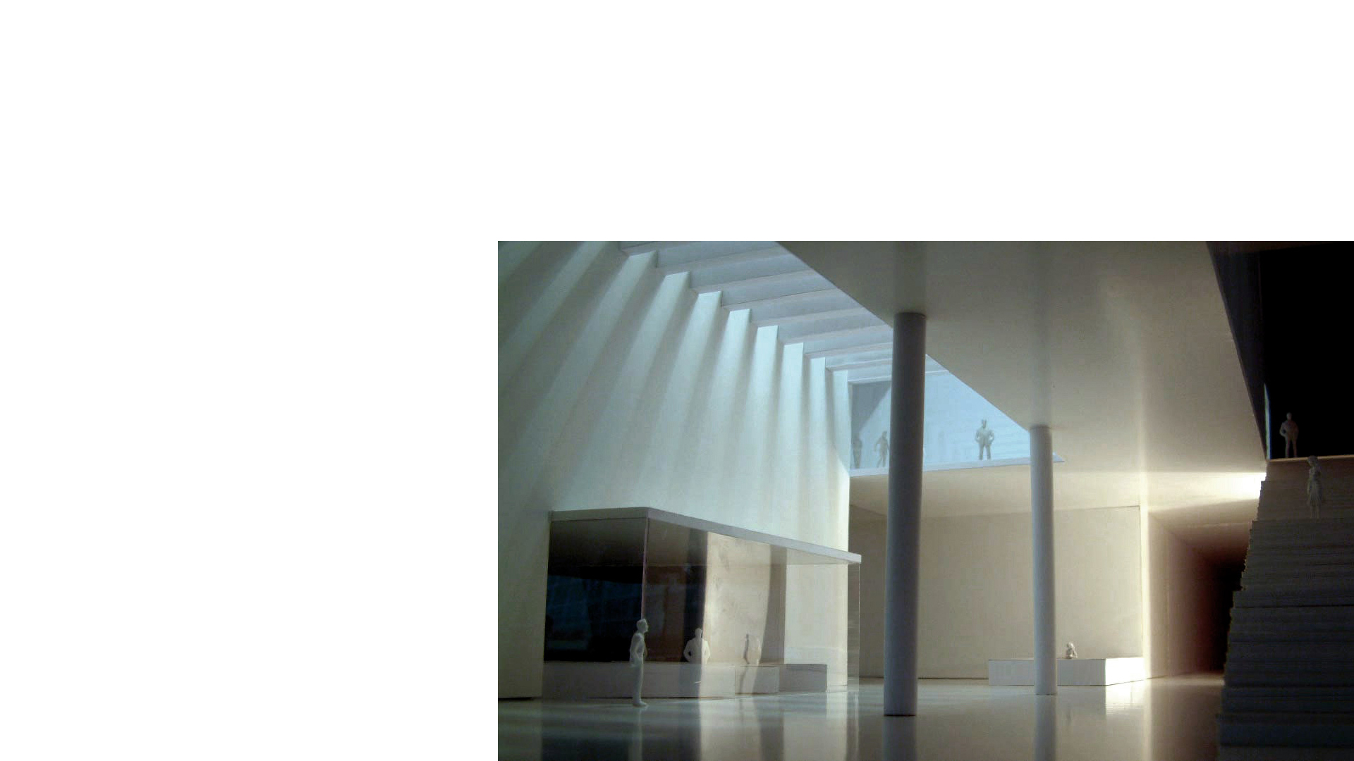 Study model of the toplit main entrance hall and reception at the proposed Moesgård Museum