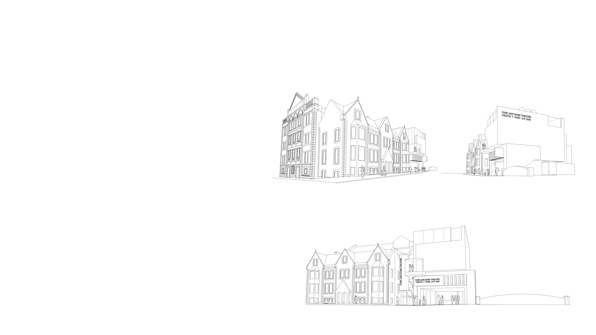 3D line drawings of the proposed Parc & Dare Arts Centre Treorchy Wales